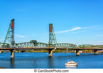Hawthorne Bridge in Portland - View of the Hawthorne Bridge...