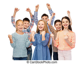happy children celebrating victory - childhood, fashion,...