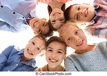 Lächeln, glücklich, Kinder, Gesichter