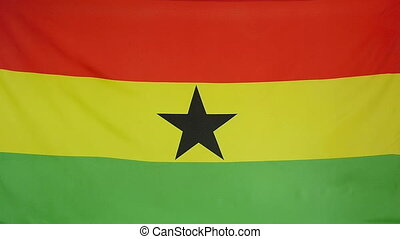 Slowmotion textile Flag of Ghana - Slowmotion of a real...
