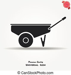 wheelbarrow icon vector button logo symbol concept