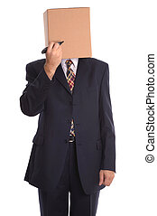 Box Man - draw a face. - Concept businessman image, Box Man...