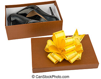 Ladies high heeled shoes in shoebox