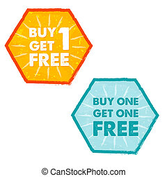 buy one get one free in grunge flat design hexagons labels -...