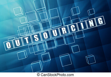 outsourcing in blue glass cubes 3D illustration