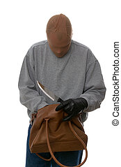 Mugger searching through a handbag.