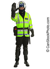 Policeman in riot gear - Stop - Policeman in riot gear and...