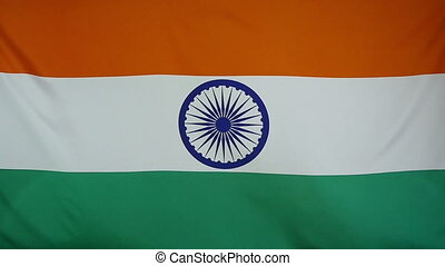 Slowmotion textile Flag of India - Slowmotion of a real...