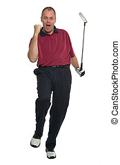 Great putt - Golfer in a red shirt celebrating after sinking...