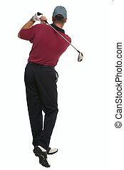 Golfer back swing rear view - Rear view of a golfer during...