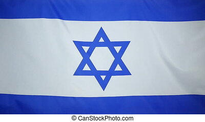 Slowmotion textile Flag of Israel - Slowmotion of a real...