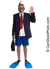 Businessman on Vacation - Business travel concept image, a...
