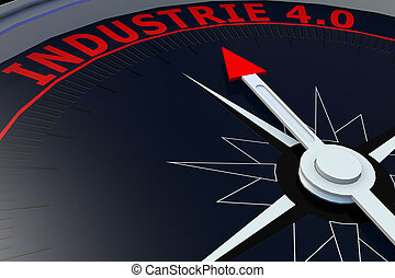 Black compass with INDUSTRIE 40 word on it, 3D rendering