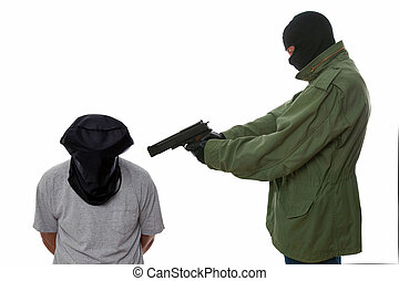Hostage at gunpoint - Kidnapper holding a gun to the head of...
