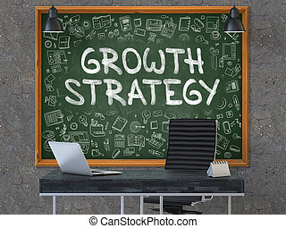 Growth Strategy on Chalkboard with Doodle Icons - Growth...
