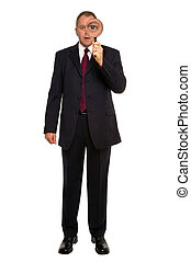 Businessman Close inspection - Businessman using a...