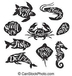 Marine Animals Vintage Stamp Collection - Marine Animals...