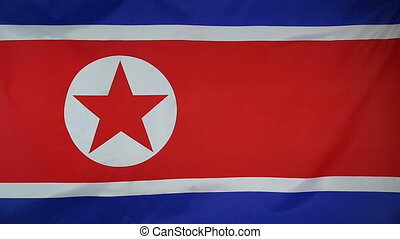 Slowmotion textile Flag North Korea - Slowmotion of a real...