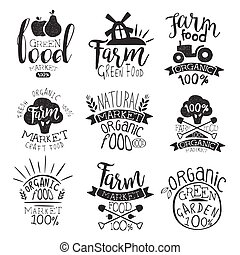Farm Products Market Vintage Stamp Collection Of Monochrome...