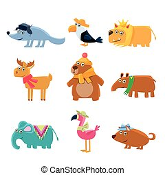 Dressed Animals Set Of Cute Childish Style Bright Color...