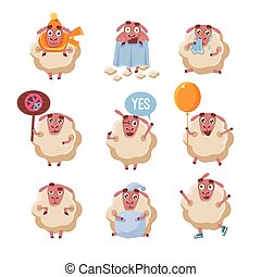 Sheep Cartoon Character Set Of Cute Childish Style Bright...