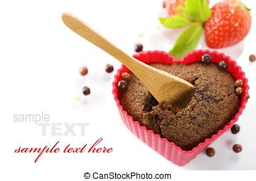 heart shape muffin - chocolate heart shape muffin in red...