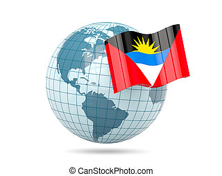 Globe with flag of antigua and barbuda 3D illustration