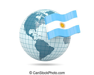 Globe with flag of argentina