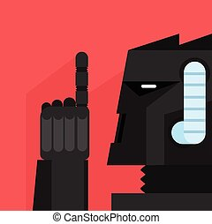 Black Robot With Finger Up Portrait Icon In Weird Graphic...