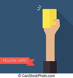 Hand of referee showing yellow card Vector illustration
