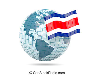 Globe with flag of costa rica