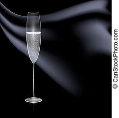 glass and black drape - dark background and the glass of...