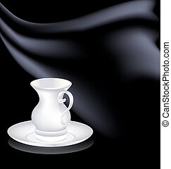 white cup and black drape - dark background and the white...