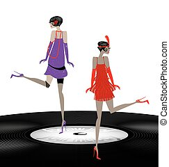 two abstract girls dancing