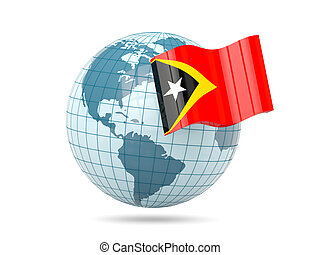 Globe with flag of east timor 3D illustration