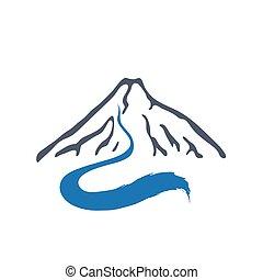 Mountain river, vector logo illustration. - Mountain river...