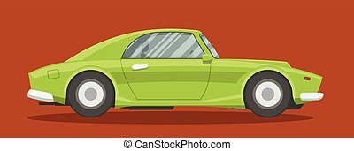 Flat race car - Retro brandless race car side view vector...