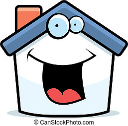 House Smiling - A cartoon small house happy and smiling