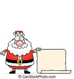 Santa List - A happy cartoon Santa Claus with his list.