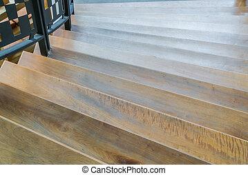 Interior wood stairs