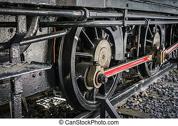 Close up of old train wheels