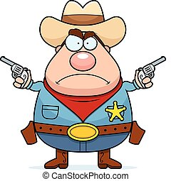 Angry Cowboy - A cartoon sheriff with an angry expression.