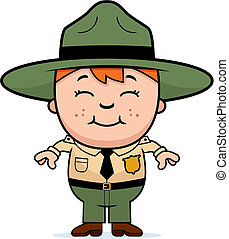 Kid Park Ranger - A happy cartoon boy in a park ranger...