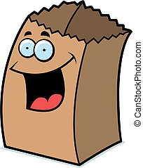 Paper Bag Smiling - A cartoon paper bag happy and smiling