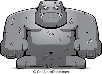 Stone Golem - A cartoon stone golem with an angry...