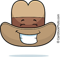 Cowboy Hat Smiling - A cartoon cowboy hat happy and smiling.