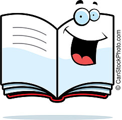 Book Smiling - A cartoon open book happy and smiling