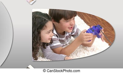 Animation showing adorable children having fun at home