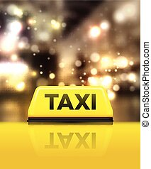 Taxi car on the street at night. Vector illustration