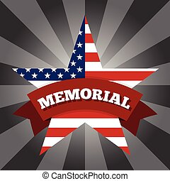 Memorial day background. American flag in the shape of a...